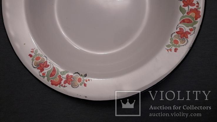Тарелка эмалированная с узором, фото №3