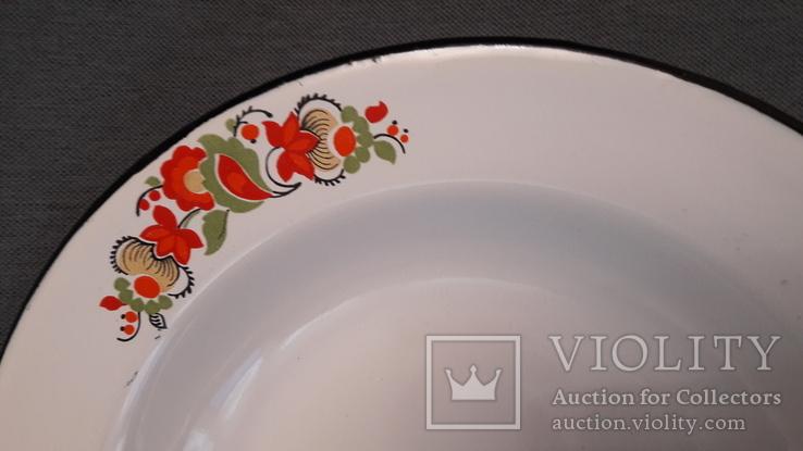Тарелка эмалированная с узором, фото №4