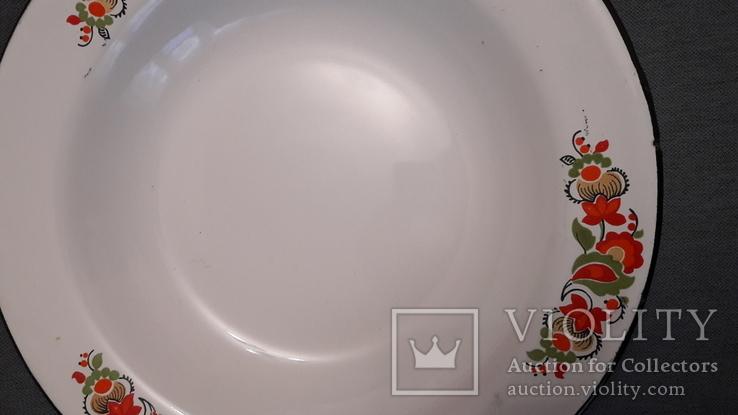 Тарелка эмалированная с узором, фото №5