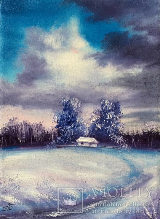 Картина, Була зима, 15х20 см. Живопис на полотні, фото №2