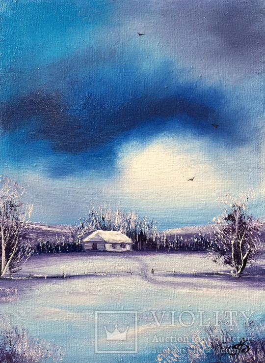 Картина, Зимові мрії, 15х20 см. Живопис на полотні, фото №2