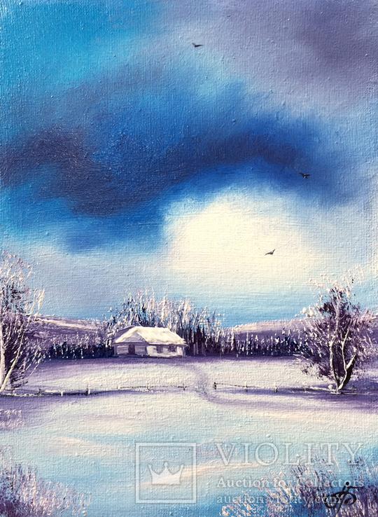 Картина, Зимові мрії, 15х20 см. Живопис на полотні, фото №3
