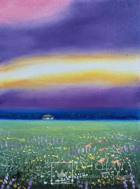Картина, Дивне небо, 15х20 см. Живопис на полотні, фото №4