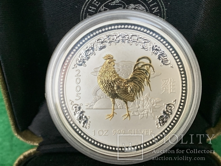 1 доллар 2005. Год Петуха. 1 oz. Серебро, фото №4