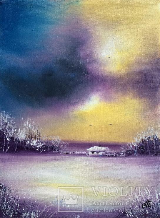 Картина, Роздуми про зиму, 15х20 см. Живопис на полотні, фото №3