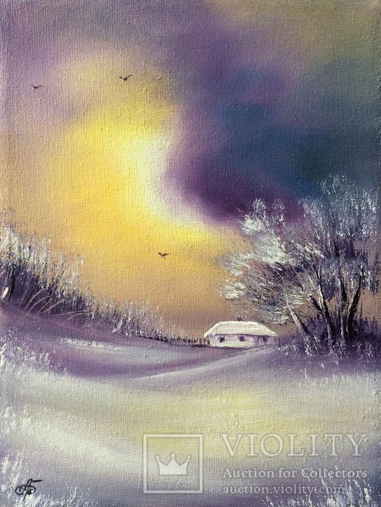 Картина, Згадки про зимову пору, 15х20 см. Живопис на полотні, фото №2