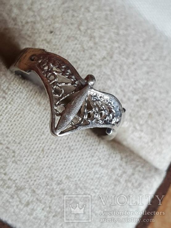 Советское колечко серебро 875 проба. Размер 17, фото №2