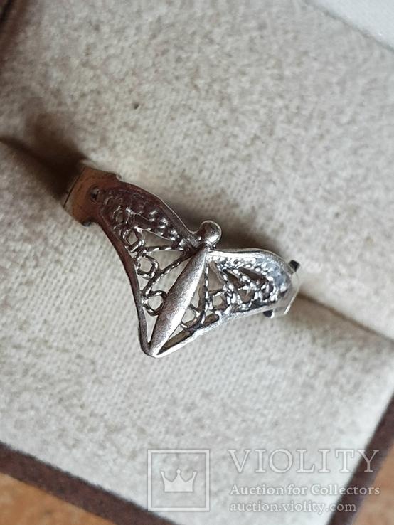 Советское колечко серебро 875 проба. Размер 17, фото №3