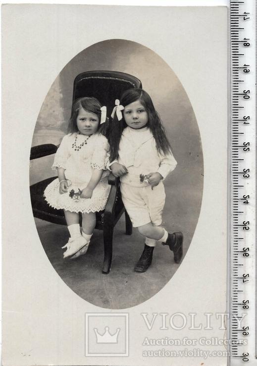 Старинная открытка. До 1945 годa. Дети. и., фото №2
