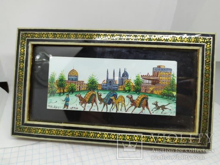 Декоративная работа. Восточная страна и верблюды. Ручная роспись, фото №2