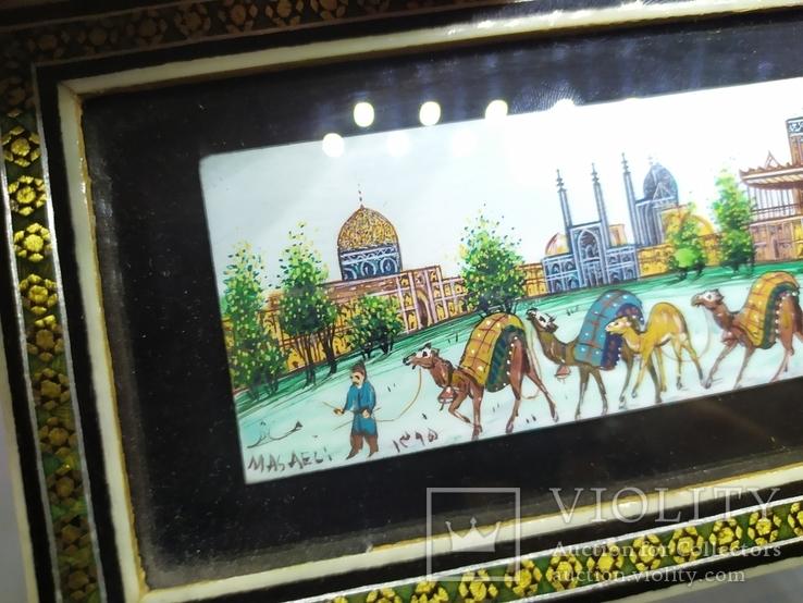 Декоративная работа. Восточная страна и верблюды. Ручная роспись, фото №5