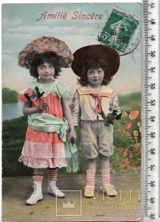 Старинная открытка. 1918 год. Дети. и.(2), фото №2