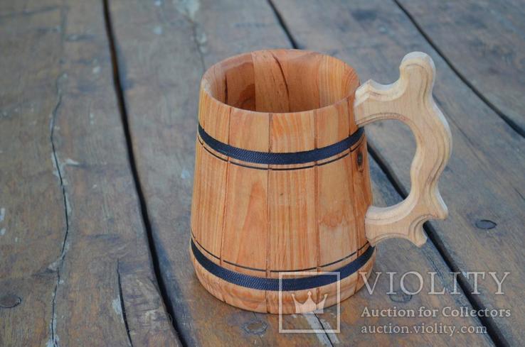 Деревянные кружки Деревянная пивная кружка объемом 0,7 мм., фото №3