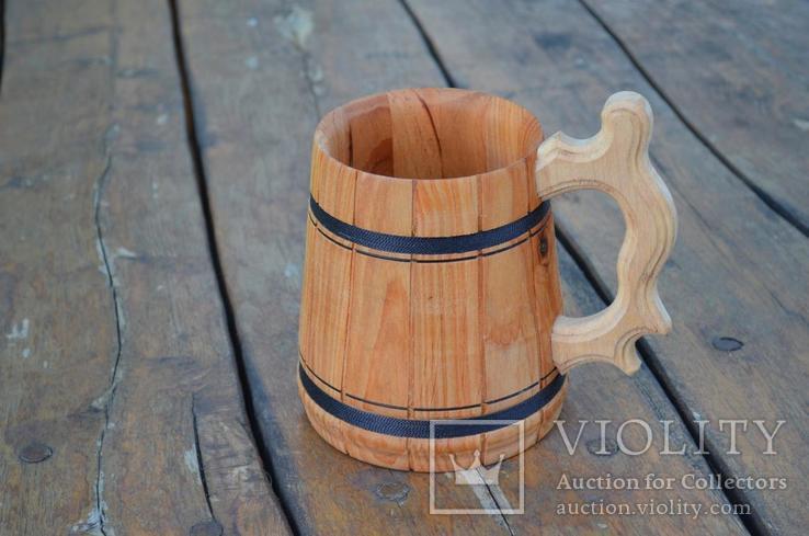 Деревянные кружки Деревянная пивная кружка объемом 0,7 мм., фото №11