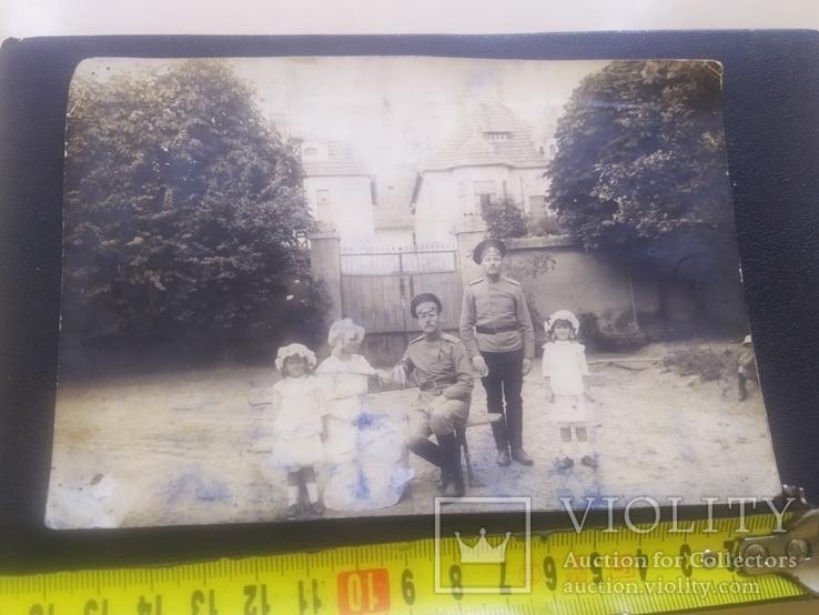 Офицер и солдат Первой Мировой с семьей старое фото, фото №13