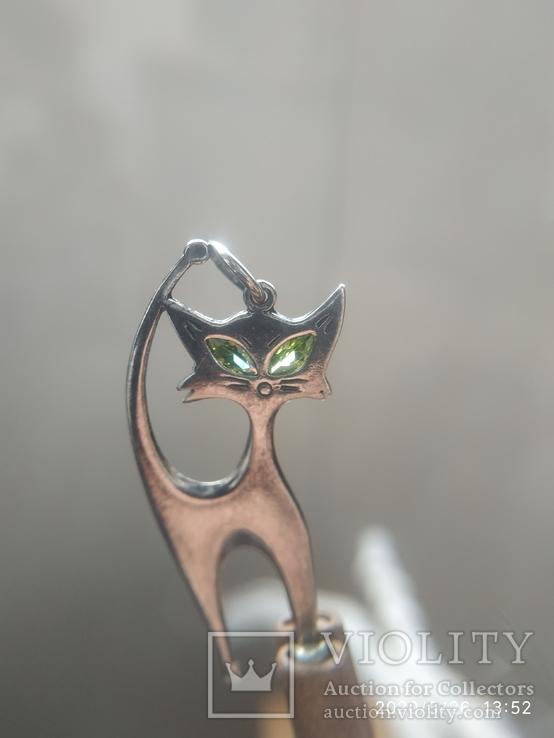 Кулон кошка серебро, фото №7