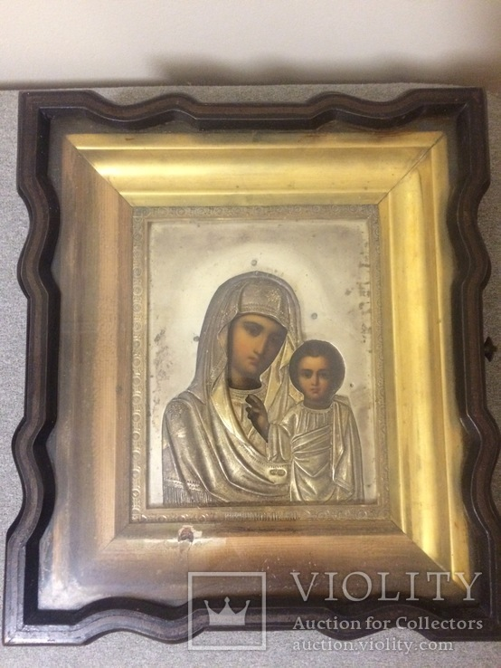 Казанская икона Божией Матери, серебро, золочение, XIX век, мастер Е.А.Кузнецовъ
