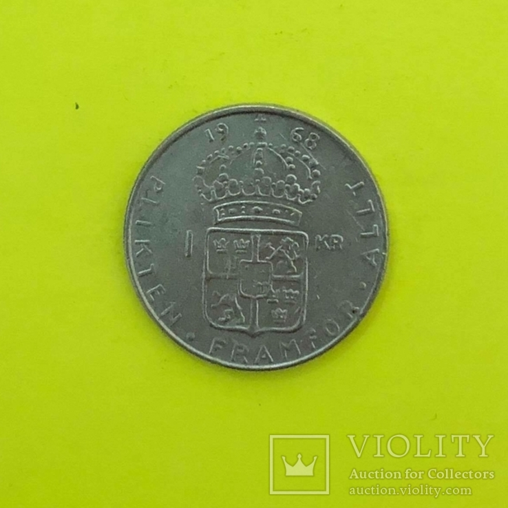 Швеція 1 крона, 1968р. Срібло., фото №3