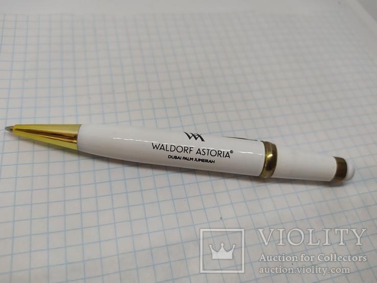 Шариковая ручка Waldorf Astoria со стилусом. Тяжеленькая. Длина 125мм, фото №2