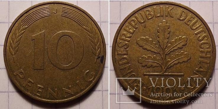 Германия. 10 пфеннигов 1991. J -  Гамбург