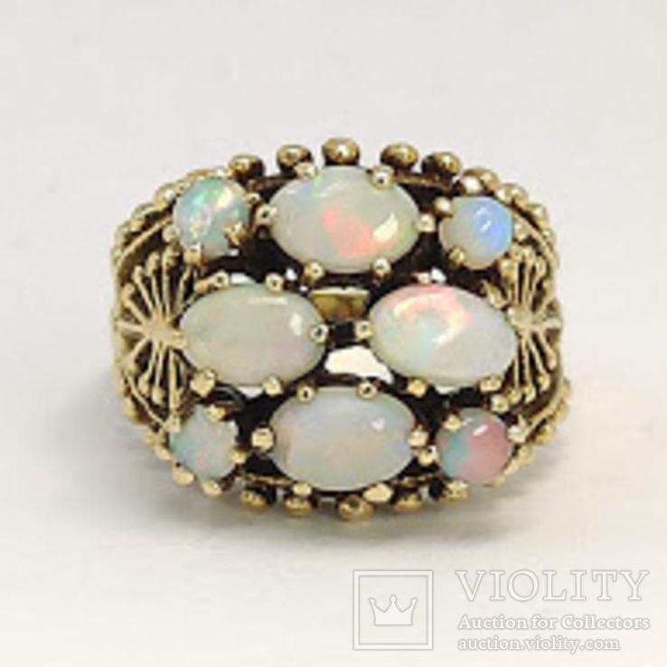 Золотое кольцо с натуральными опалами, фото №3