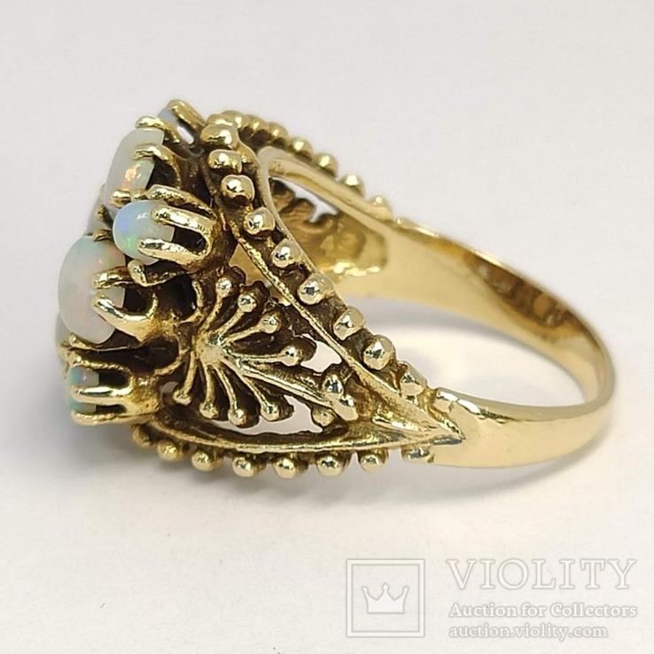 Золотое кольцо с натуральными опалами, фото №4