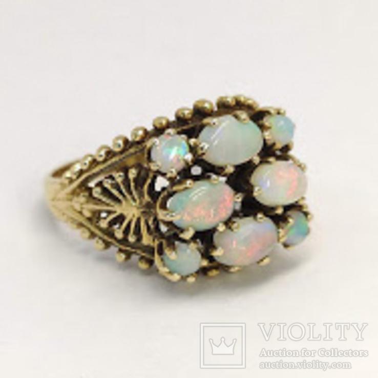 Золотое кольцо с натуральными опалами, фото №5