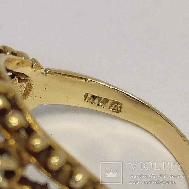 Золотое кольцо с натуральными опалами, фото №8