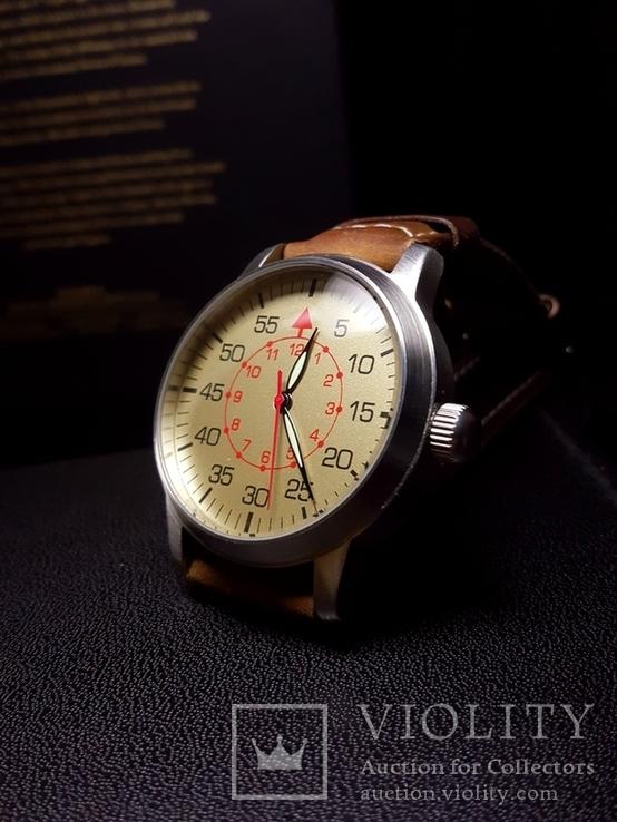 Часы марьяж Ракета 2609.НА корпус Авиатор с кожаным ремнём Megir, фото №4