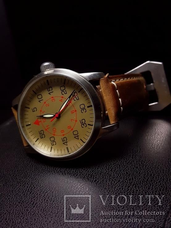 Часы марьяж Ракета 2609.НА корпус Авиатор с кожаным ремнём Megir, фото №9
