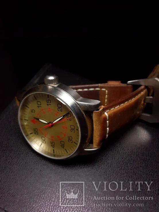 Часы марьяж Ракета 2609.НА корпус Авиатор с кожаным ремнём Megir, фото №10