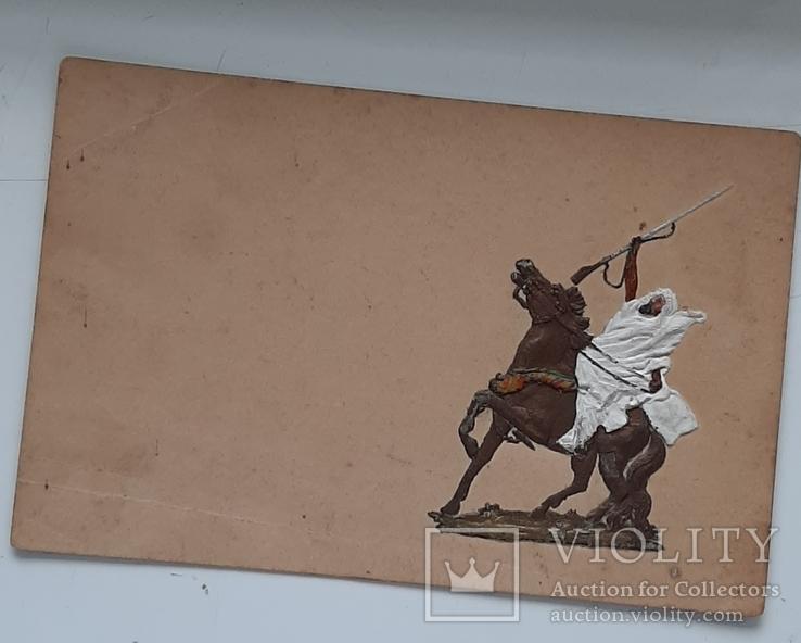 Старая открытка с ручной отделкой, фото №2