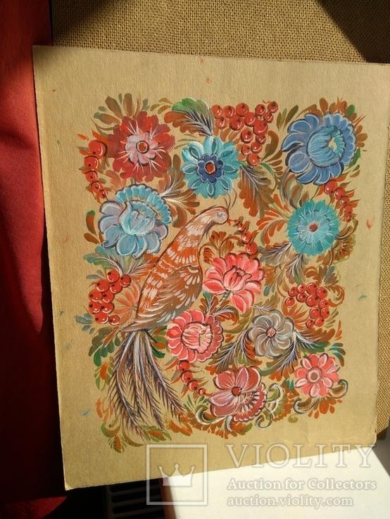 Образец росписи для кухонных досок медовая акварель. 1, фото №2