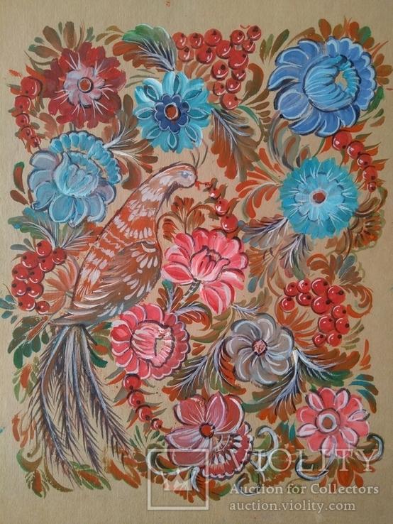 Образец росписи для кухонных досок медовая акварель. 1, фото №12