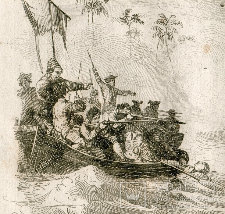 Старинная гравюра. Гибель капитана Кука. 28х17см, фото №5