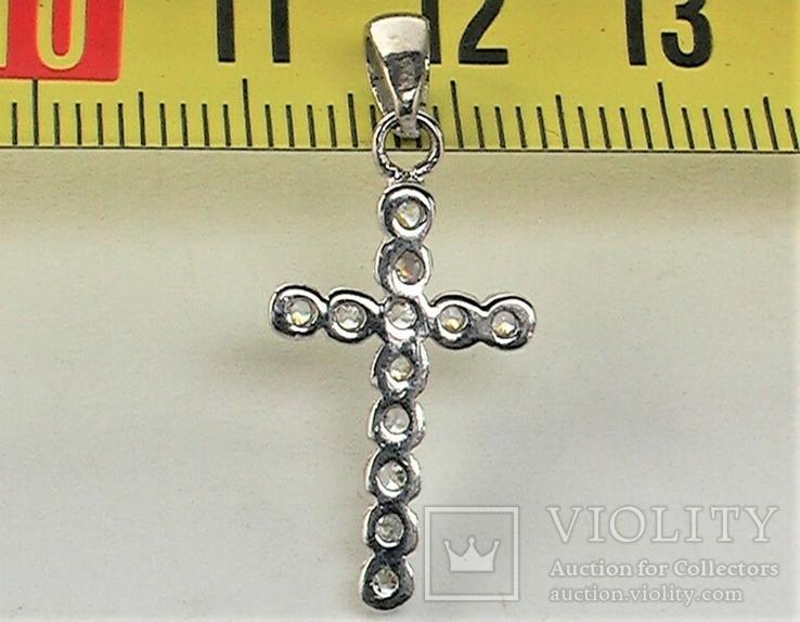 Крестик серебро 925 проба 1,29 грамма без пробы, фото №6