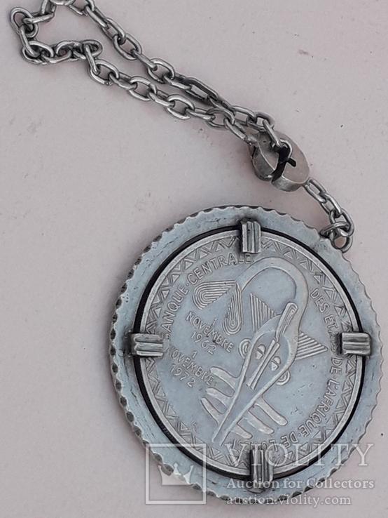 500 франков Западная Африка, 1972 г., переделанные в брелок, серебро, 39 гр., фото №2
