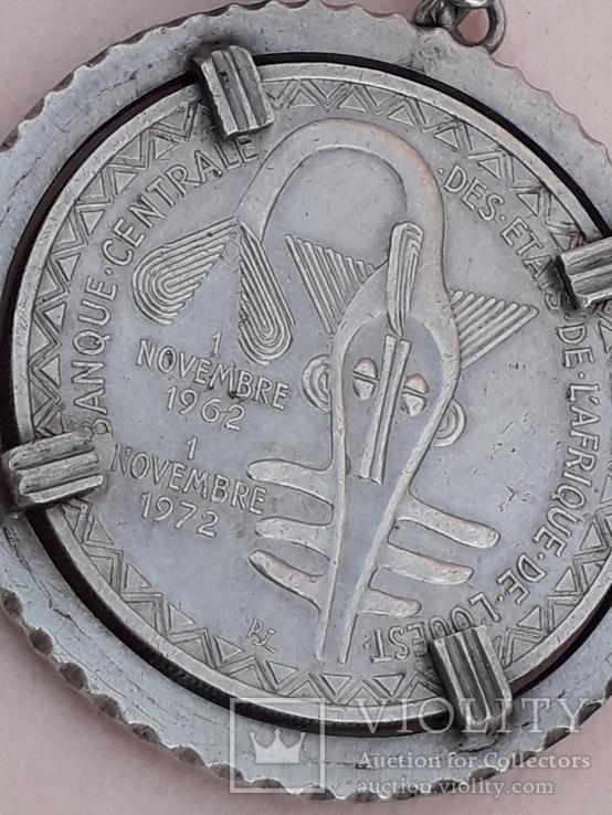 500 франков Западная Африка, 1972 г., переделанные в брелок, серебро, 39 гр., фото №3
