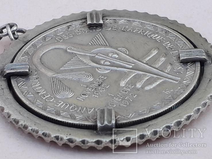 500 франков Западная Африка, 1972 г., переделанные в брелок, серебро, 39 гр., фото №4