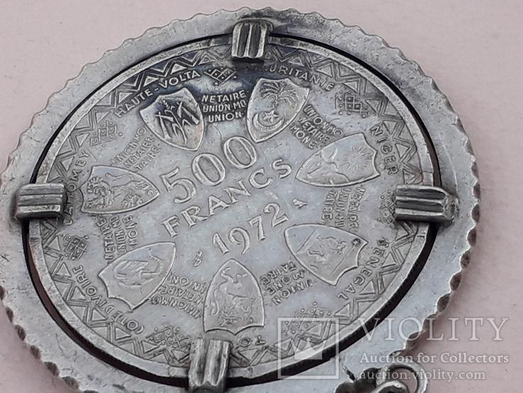 500 франков Западная Африка, 1972 г., переделанные в брелок, серебро, 39 гр., фото №8