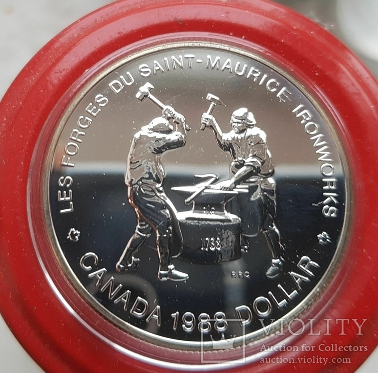 Канада 1 доллар 1988 г. Серебро. Кузнецы, фото №2