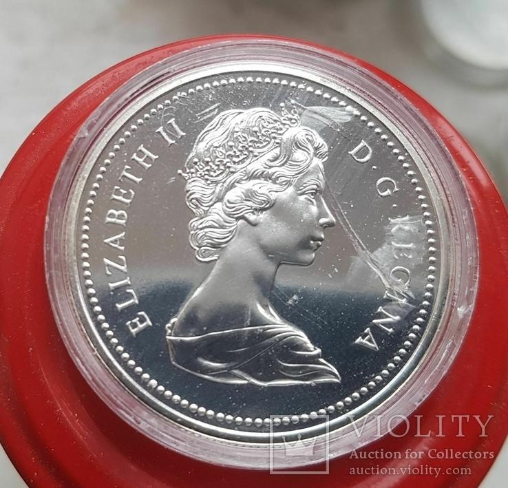 Канада 1 доллар 1975 г. Серебро. 100-летие города Калгари., фото №3
