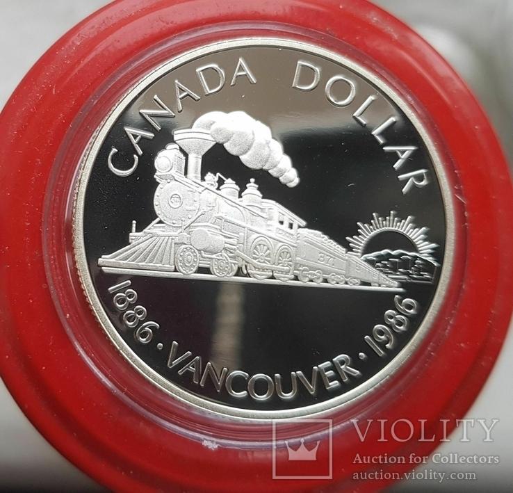 Канада 1 доллар 1986 г. Серебро. 100-летие Ванкувера. Паровоз. Елизавета II., фото №2