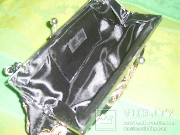 Сумочка атласная расшитая бисером и пайетками и вышивкой, фото №7