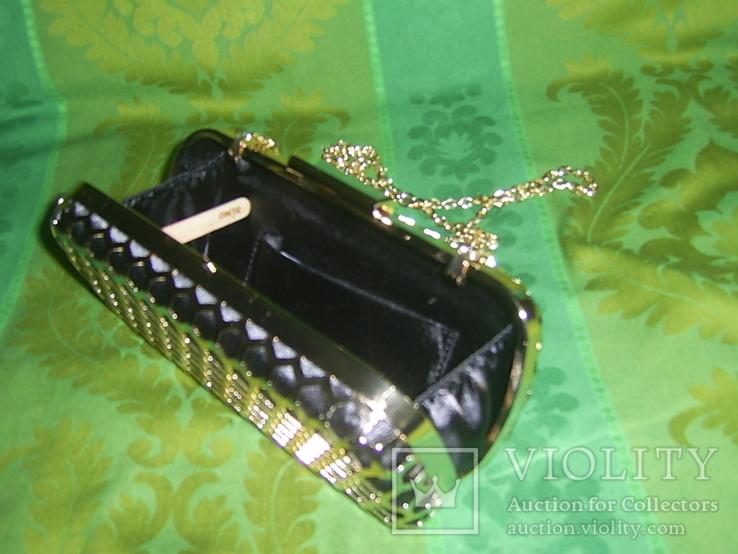 Сумочка на цепочке с позолоченным каркасом, фото №6