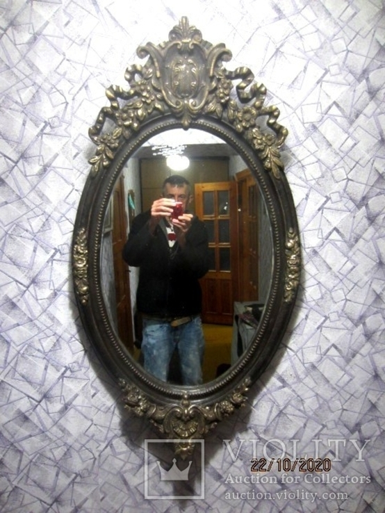 Настенное зеркало барокко дерево грунт 105 cm x 57 cm винтаж, фото №3