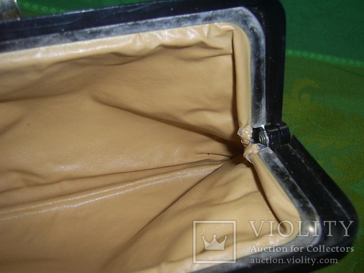 Клатч кожаный винтажный. с кожаной подкладкой 50- 60 е годы, фото №8