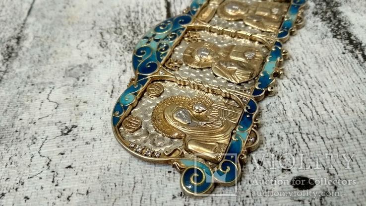 Серебряная икона триптих/ ДеИисус автомобильный, 925 + позолота, фото №9