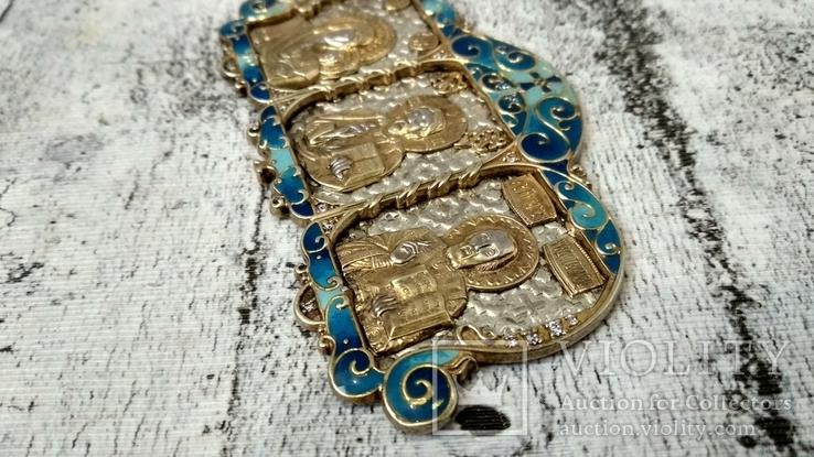 Серебряная икона триптих/ ДеИисус автомобильный, 925 + позолота, фото №10