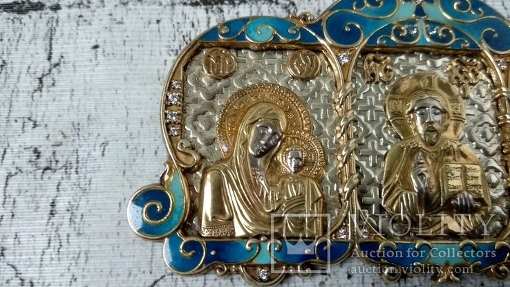 Серебряная икона триптих/ ДеИисус автомобильный, 925 + позолота, фото №11